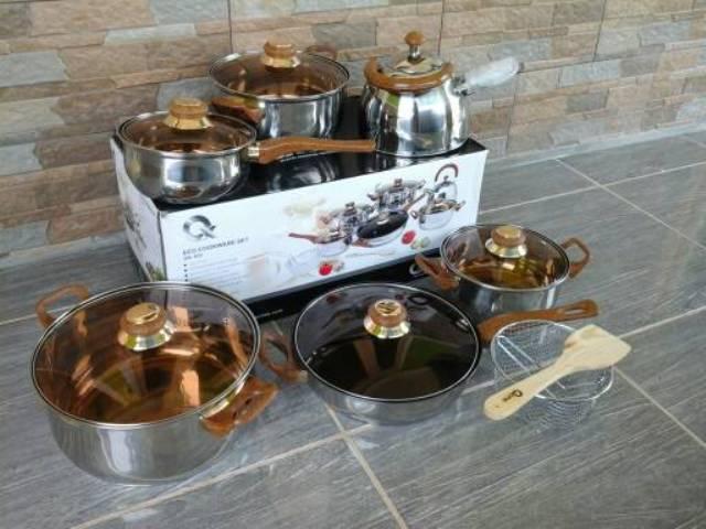 Satu Set Alat Masak Dapur Stainless Steel Panci Eco ...
