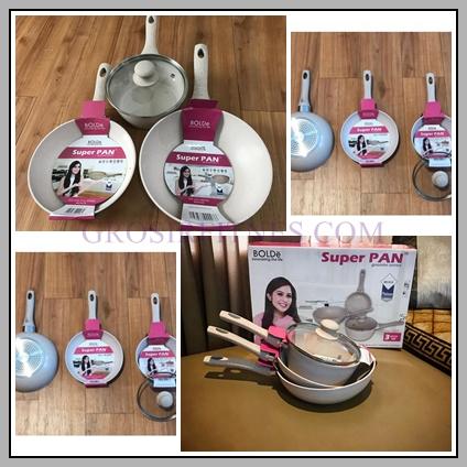 Super Pan Bolde 4Pcs Panci Granite Ceramic Cookware Set ...