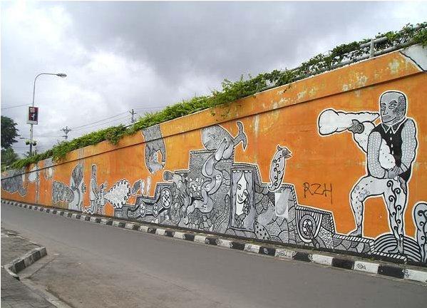 Taman mural di kolong jembatan layang lempuyangan for Mural indonesia